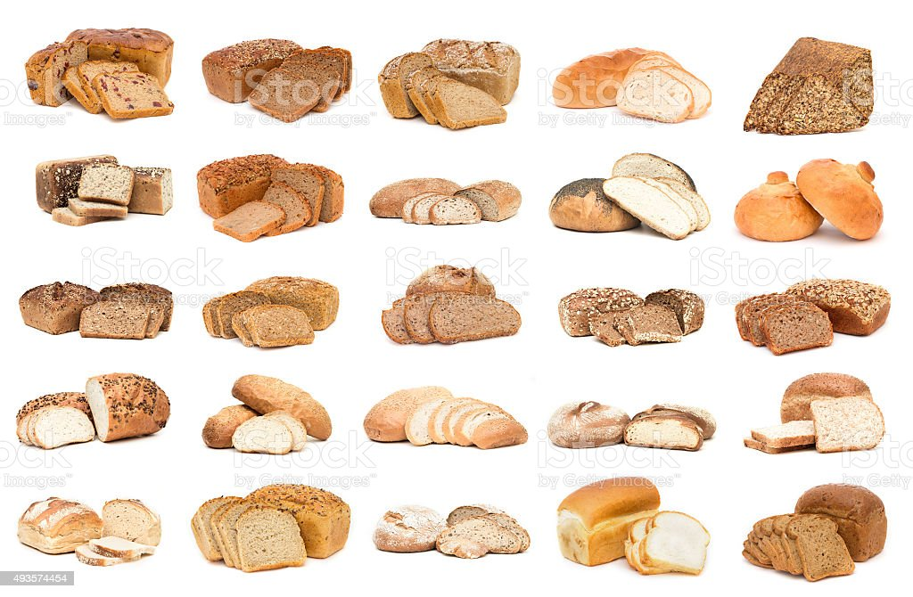 Collection of various bread. Isolated over white background stock photo