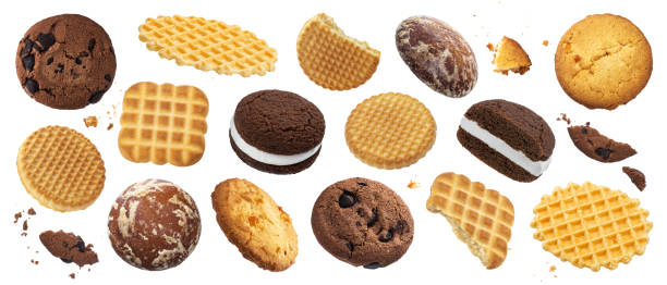 Collection of various cakes, cookies, crackers, waffles isolated on white background stock photo