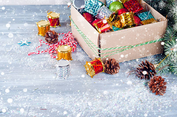 collection of various christmas decorations placed into cardboard box stock photo 623111282 istock - Cardboard Box Christmas Decorations