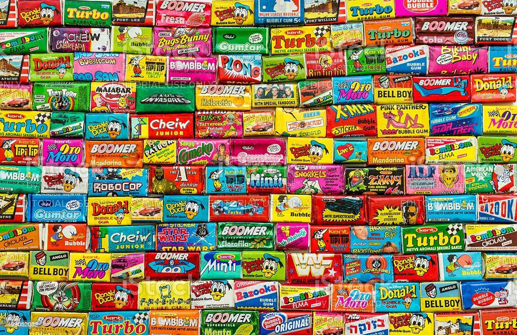 Collection of various colorful chewing or bubble gum stock photo