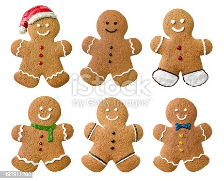 istock Collection of various gingerbread men on a white background 492911200