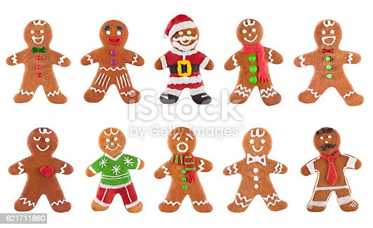 istock Collection of various gingerbread men on a white background 621711860