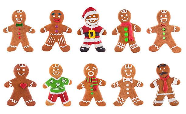 colección de diferentes gingerbread hombres sobre un fondo blanco - gingerbread man fotografías e imágenes de stock