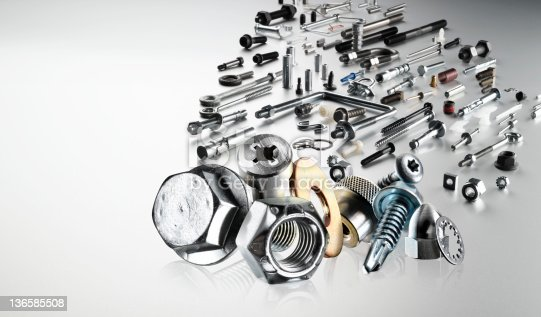 A shiny collection of hardware, nuts and bolts and fasteners.