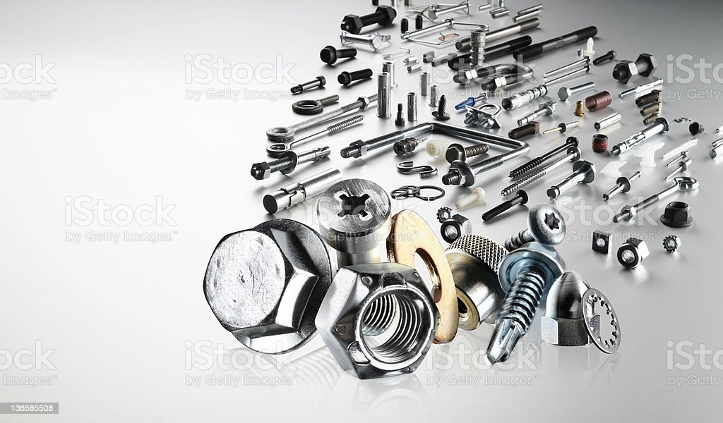 Collection of various hardware fasteners  stock photo