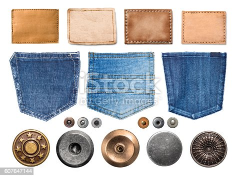 collection of various jeans parts on white background. each one is shot separately