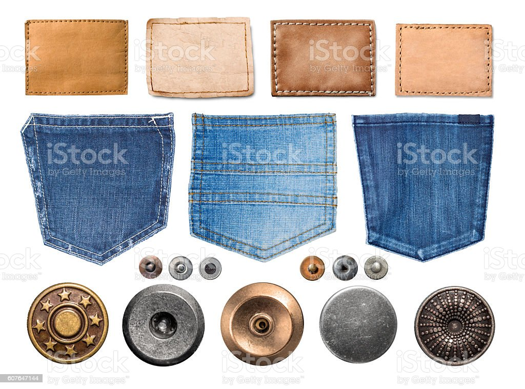 collection of various jeans parts stock photo