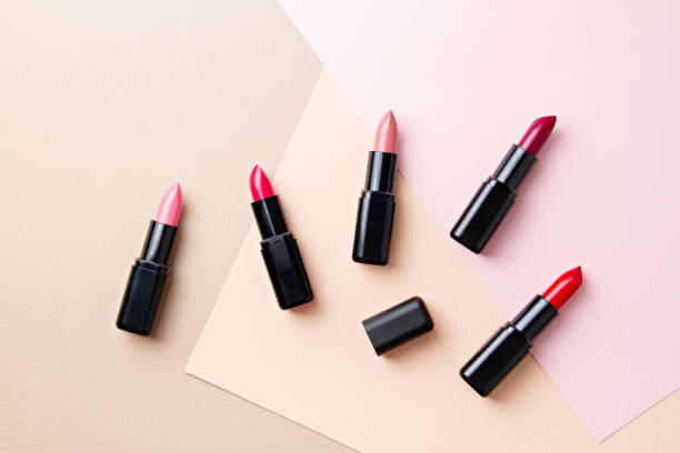 collection of various lipsticks makeup. make up artist, beauty salon, beauty blog - rossetto foto e immagini stock