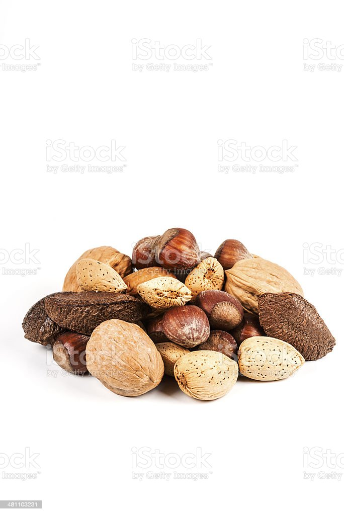 Collection of various nuts on white royalty-free stock photo