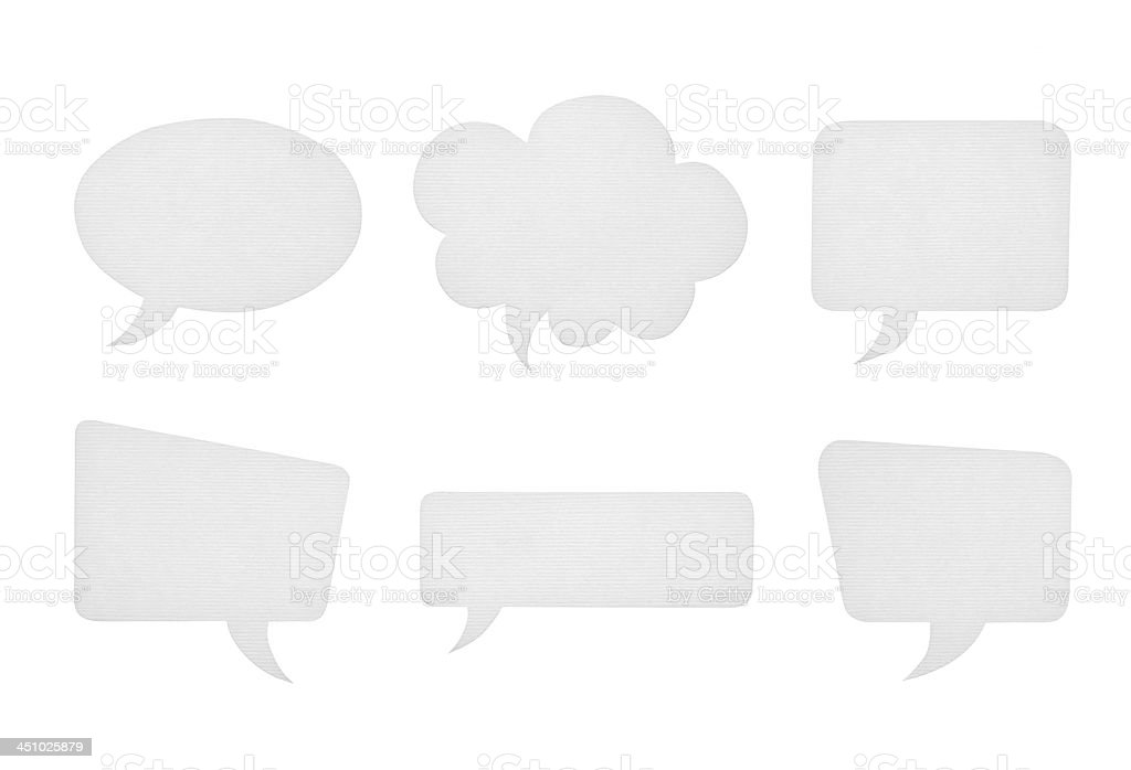 Collection of various paper speech bubbles isolated on white stock photo