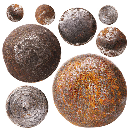 Collection of various rusty rivet heads isolated on white background. Photo Stacking