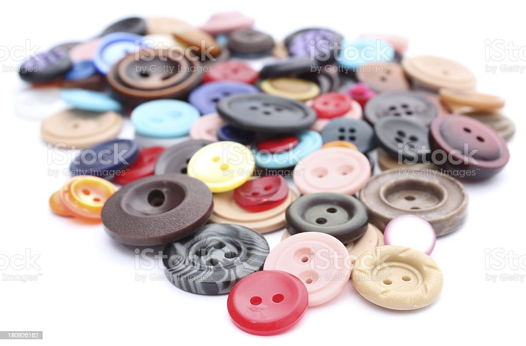 Collection of various sewing buttons on white background royalty-free stock photo
