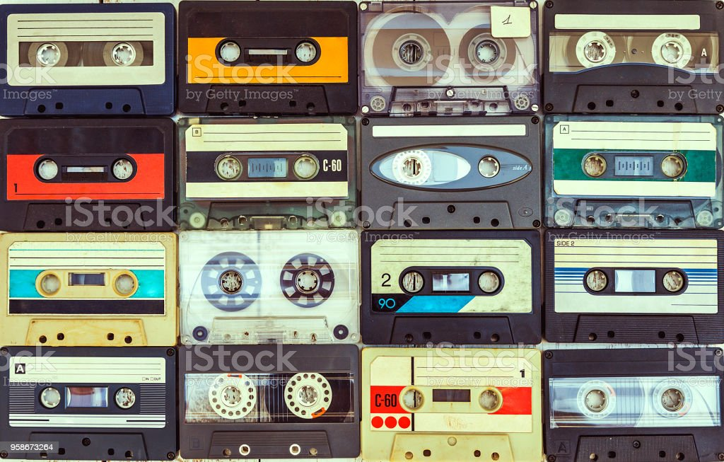 collection of various vintage audio cassettes stock photo