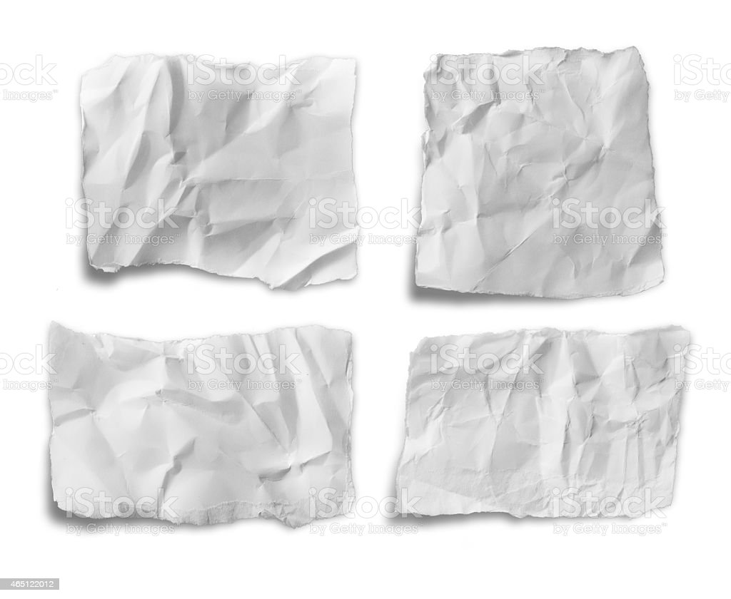 collection of various white papers on white background. stock photo