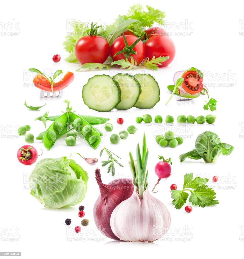 Sammlung von Gemüse isoliert auf weißem Hintergrund - Lizenzfrei Blatt - Pflanzenbestandteile Stock-Foto
