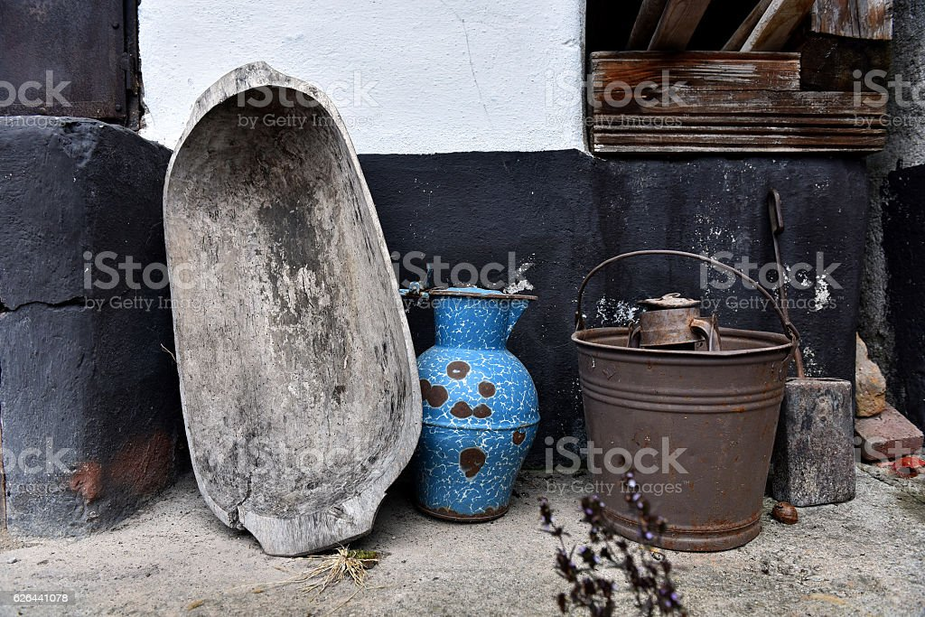 Collection of vintage antique objects stock photo