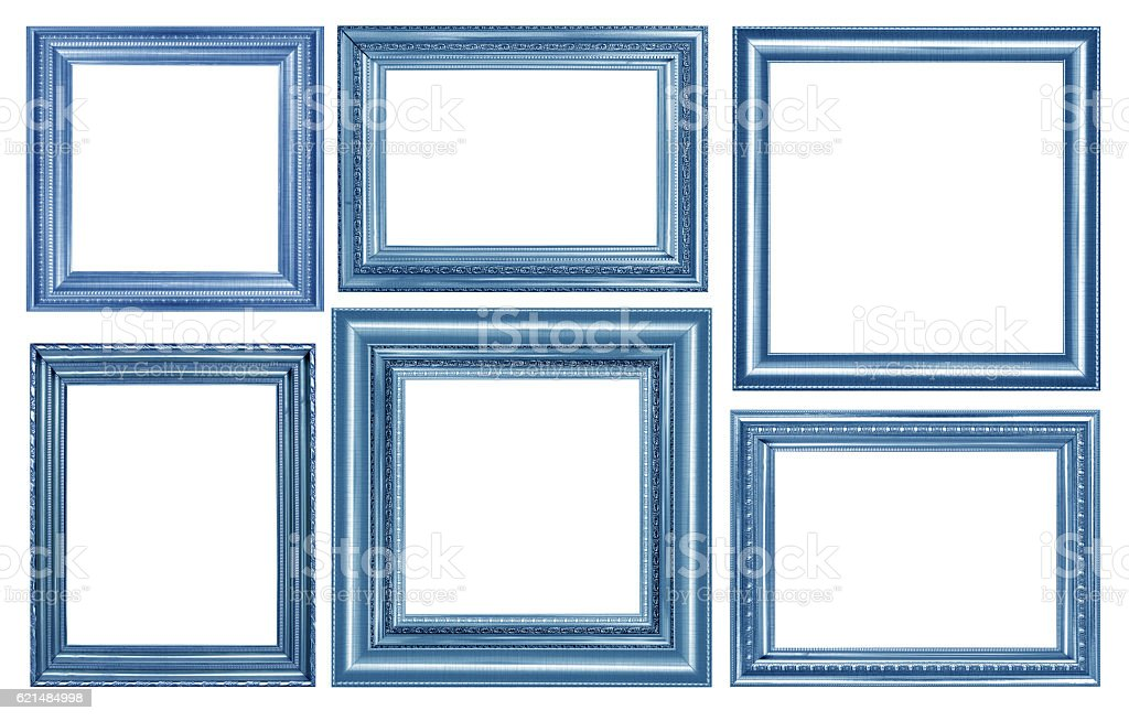 collection of vintage blue and wood picture frame, isolated stock photo