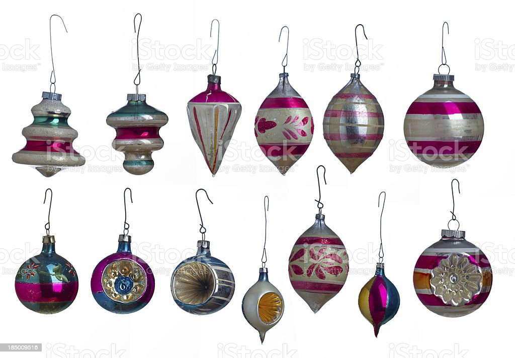 Collection of VIntage Christmas Ornaments stock photo