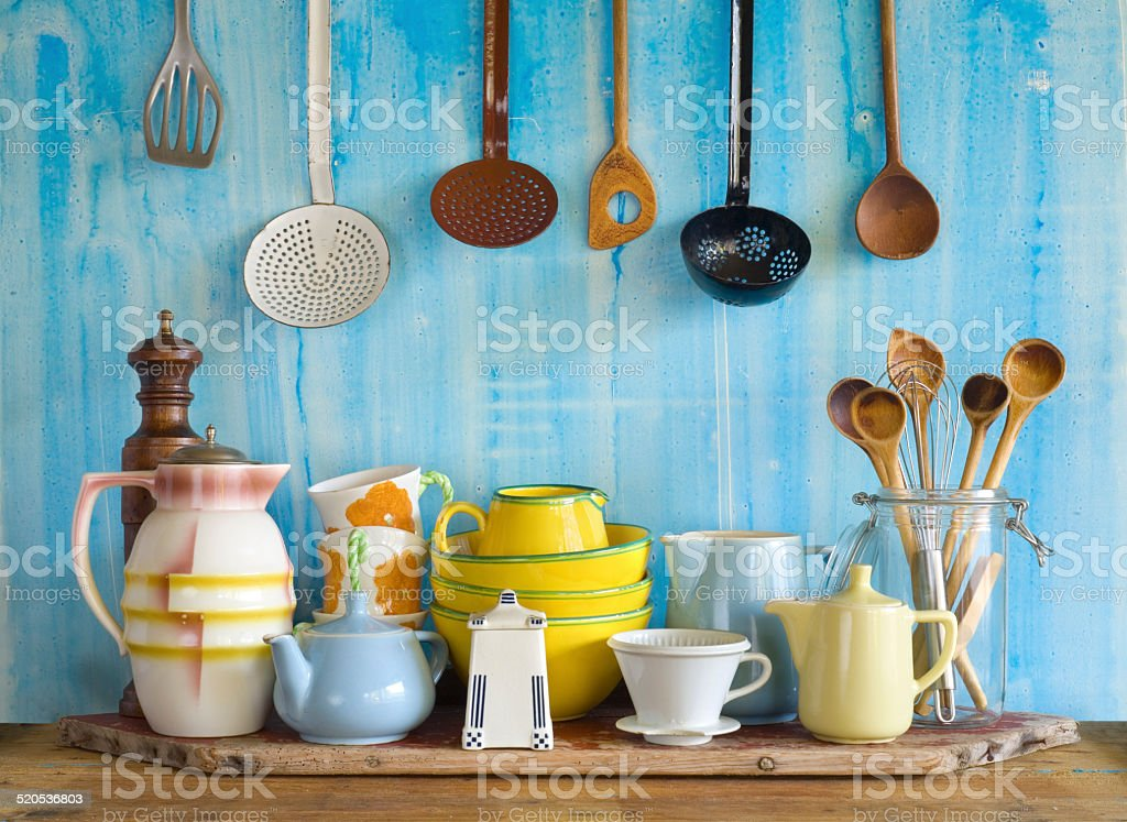 collection of vintage kitchenware, stock photo
