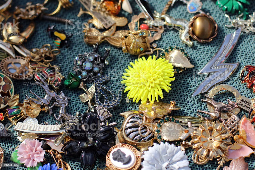 Collection of Vintage Pins and Brooches royalty-free stock photo