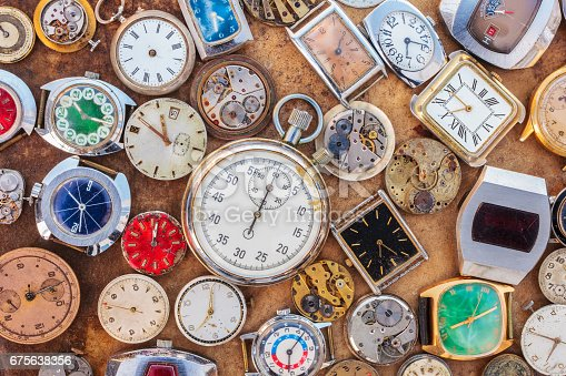 istock Collection of vintage rusty watches and parts 675638356