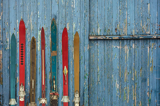 Collection of vintage wooden weathered ski's stock photo