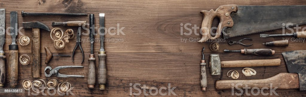 Collection of vintage woodworking tools stock photo