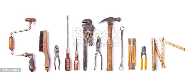 Collection of vintage work tools isolated