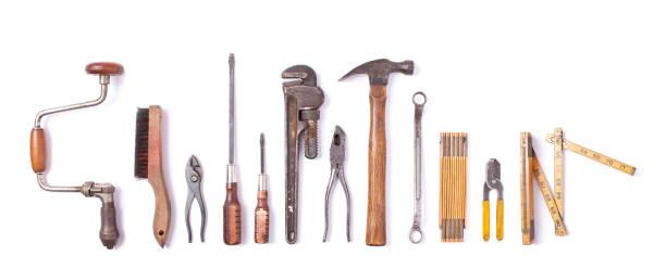 Sammlung von Vintage Arbeitsgeräte isoliert – Foto