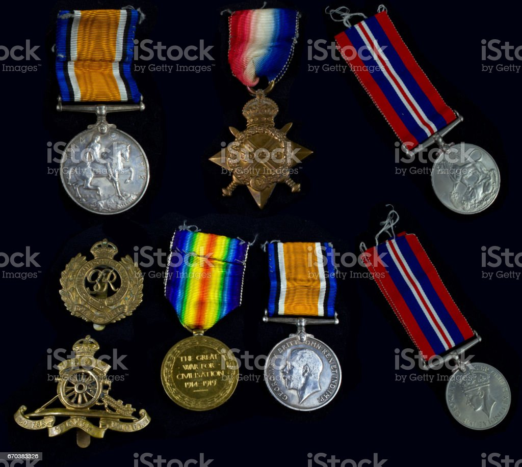 Collection of War Medals stock photo