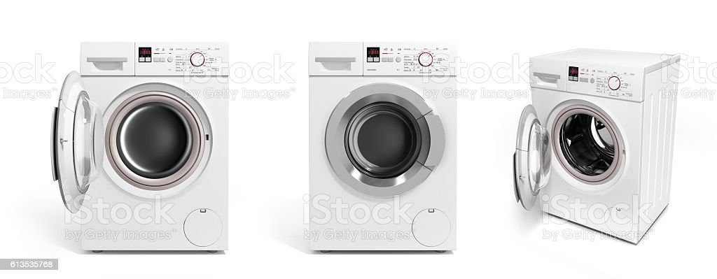 collection of Washing machine on white background stock photo
