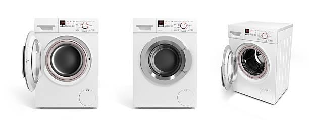 collection of washing machine on white background - 衣類乾燥機 ストックフォトと画像