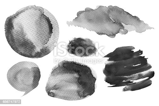 istock Collection of watercolor hand painted design elements background. Texture paper. Black and white. 656747972