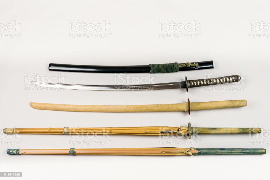A collection of weapons for kendo and iaido training. royalty-free stock photo