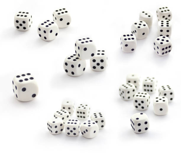 Collection of white  dices isolated on white stock photo