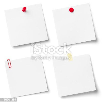 istock Collection of white note papers. 186204385