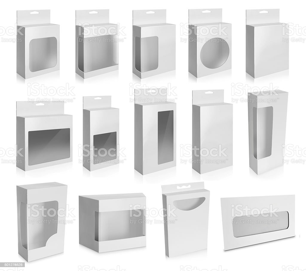 Collection of White Product Package Box With Window stock photo
