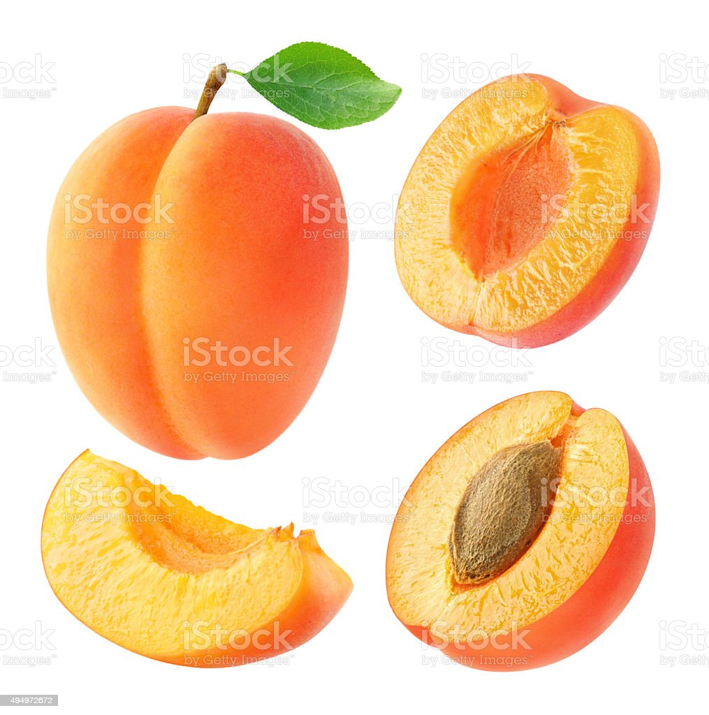 Collection of whole and cut apricots isolated on white stok fotoğrafı