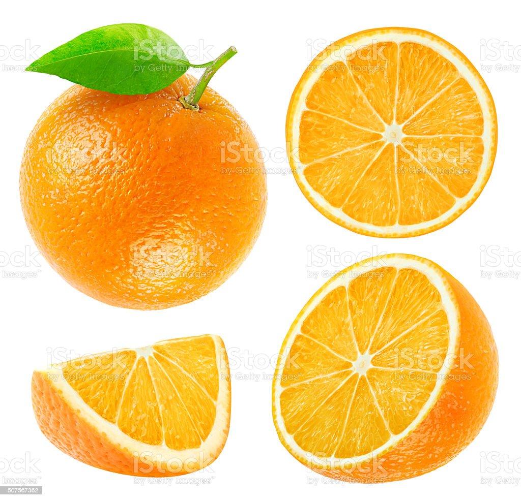 Sammlung von ganze und geschnittene Orange isoliert auf Weiß - Lizenzfrei Antioxidationsmittel Stock-Foto