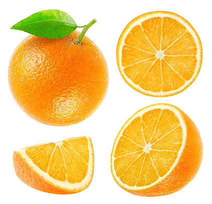 Collection of whole and cut oranges isolated on white
