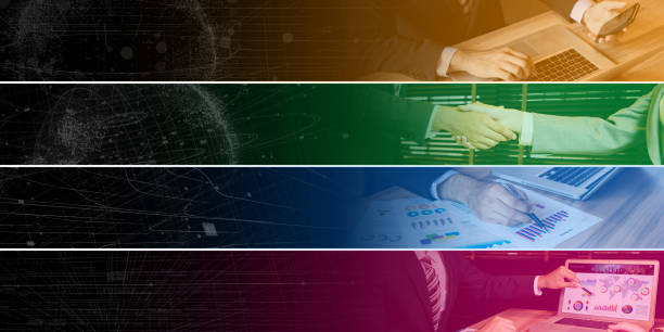 ビジネス コンセプトの広いバナーのコレクションです。Web デザイン。インデックス。タグ ラベル。ヘッダー。サイレン。 ストックフォト