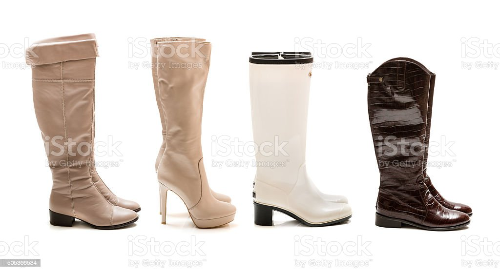Collection of winter and autumn boots stock photo