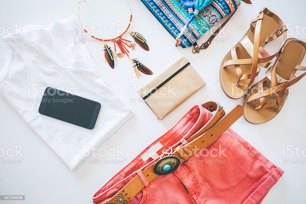 Collection of woman's summer clothing stock photo