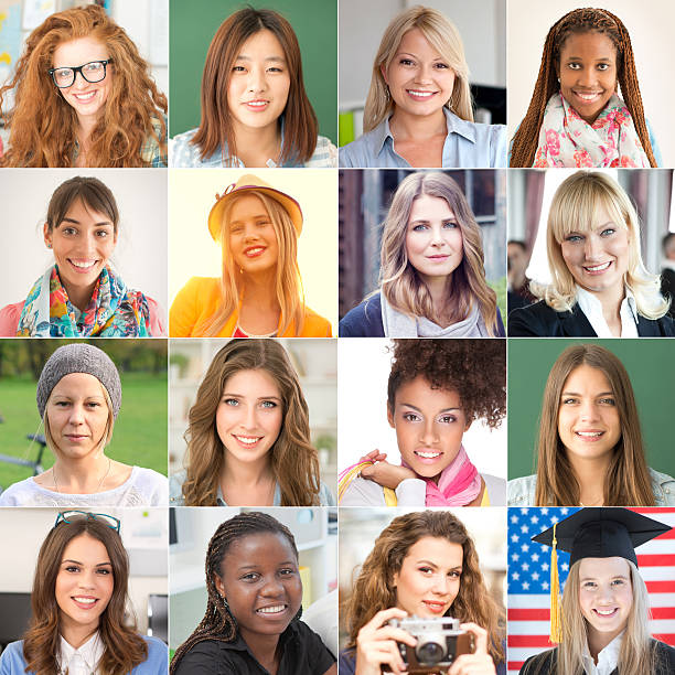 collection of women portraits looking at camera and smiling. - grid pattern stock photos and pictures