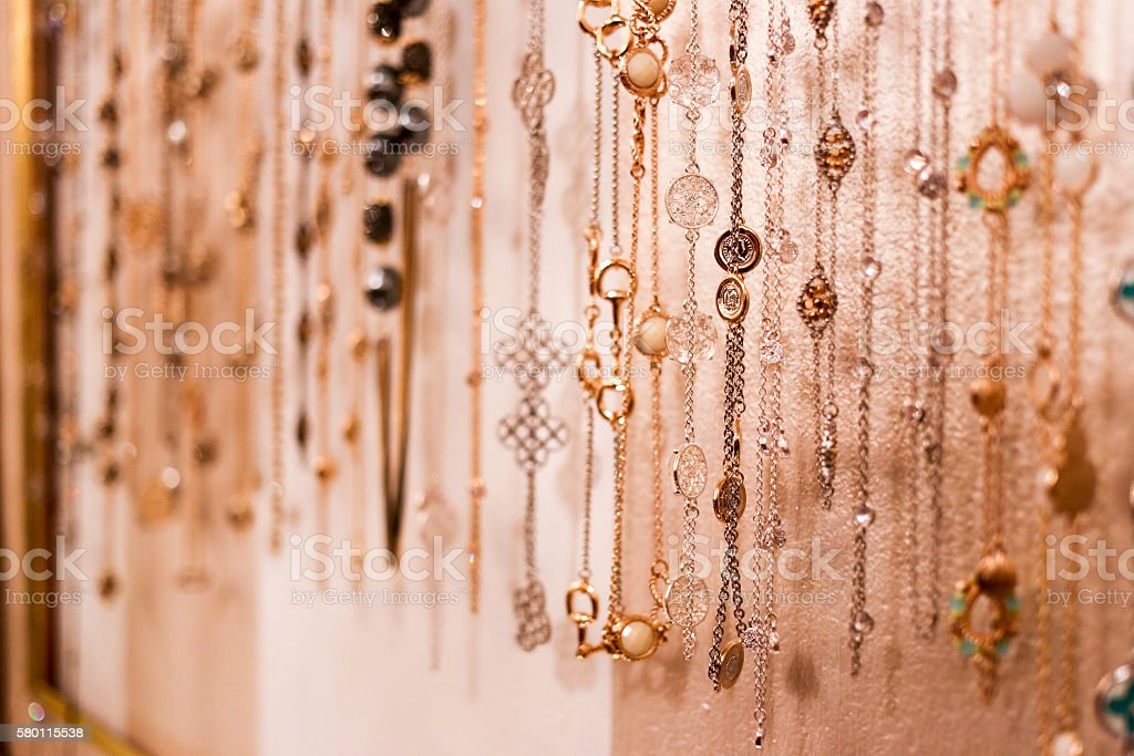 Collection of women's necklaces stock photo