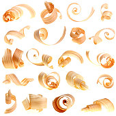 many wood curls apart each other on white background - 20 pictures in one