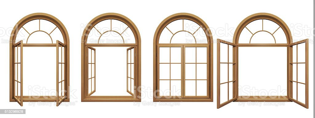 Collection Of Wooden Arched Windows Isolated On White Stock Photo ...