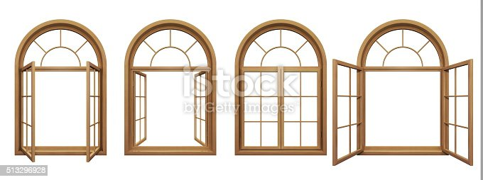 istock Collection of wooden arched windows isolated on white 513296928