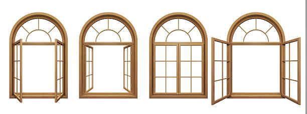 Collection of wooden arched windows isolated on white stock photo