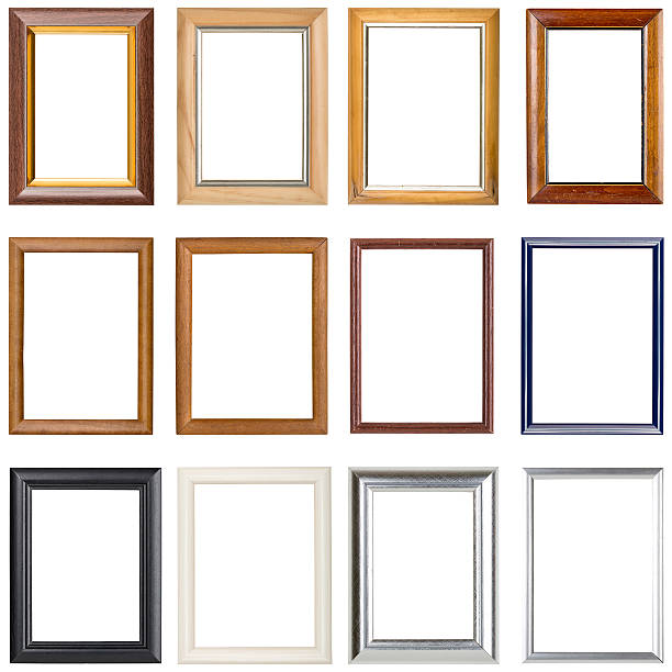 collection of wooden picture frames, isolated on white stock photo
